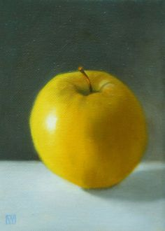 oil painting still life Yellow Apple by WendyPratherBurwell