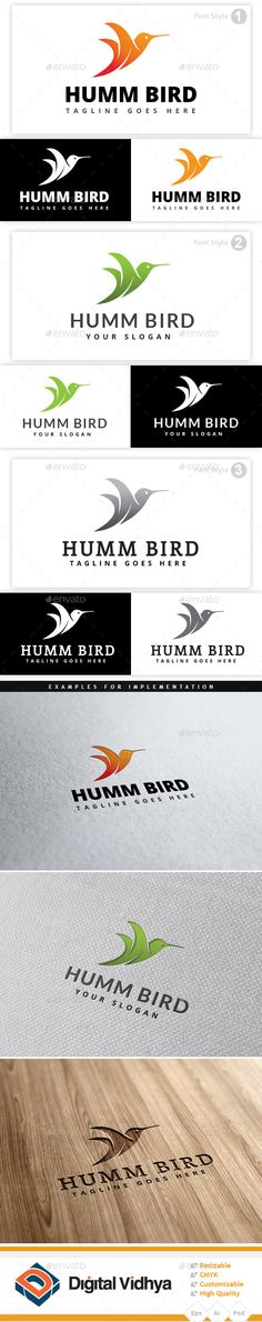 Hummingbird Logo by DigiSamaritan File Description: Hummingbird logo. This logo is suitable for bird, humming bird, animal, wings, fly, wildlife, Trochilidae, small
