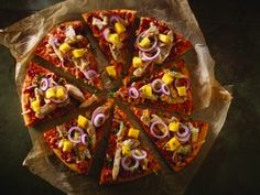 Tropical BBQ Chicken Pizza is the September 2013 Pizza of the Month! Chicken Pizza Recipes, Bbq Chicken, Good Pizza, Vegetable Pizza, Poultry, Waffles, Tacos, Tropical, Nutrition