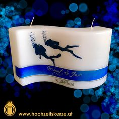 Hochzeitskerze blau, Welle, Taucher Cake, Desserts, Food, Scubas, Wave, Candles, Rustic, Homemade, Blue