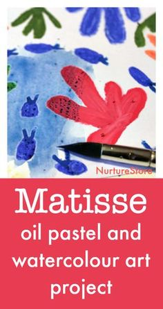 Matisse oil pastel and watercolor art project for children, Henri Matisse art lessons for children Artists For Kids, Art For Kids, Matisse Art, Henri Matisse, Easy Art Projects, Art Lessons Elementary, Pastel Art, Preschool Art, Art Lesson Plans