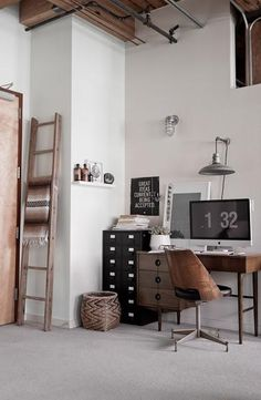 HOME OFFICE Craft space/ work space! Rustic Home Office Space invensys rail office design