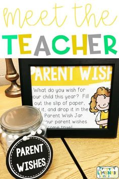 This parent wish jar is PERFECT for your parent meeting, open house, or meet the teacher night. Head to the … Parent Teacher Meeting, Teacher Forms, Letter To Teacher, Parent Teacher Conferences, Parent Night, Parent Survey, Parent Teacher Communication, Parents Meeting, Open House Activities