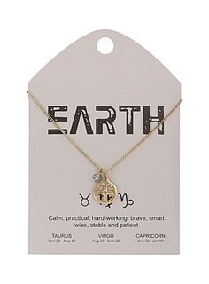 Earth star sign charm necklace
