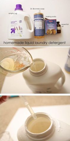 Liquid Laundry Detergent Make some homemade all natural laundry detergent with just a few simple ingredients!Make some homemade all natural laundry detergent with just a few simple ingredients! Homemade Cleaning Products, Cleaning Recipes, Cleaning Hacks, Diy Hacks, Household Products, Household Tips, Cleaning Supplies, Diy Cleaners, Cleaners Homemade
