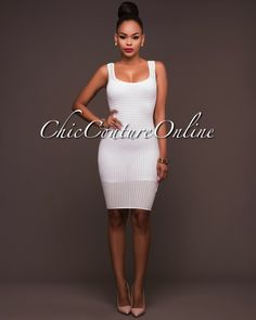 c9a697c505bf0 Chic Couture Online - Solani Off-White Perforated See-Thru Tank Dress