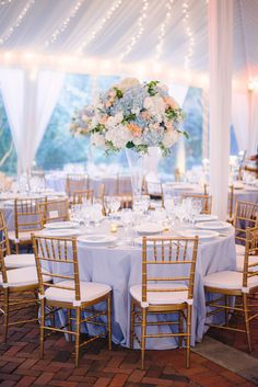 Soft Blue Hues with Pops of Peach at Decatur House in Washington, D.C Wedding Flowers: Soft Blue Hues with Pops of Peach at Decatur House in Washington, D. Cinderella Quinceanera Themes, Quinceanera Planning, Cinderella Theme, Cinderella Wedding, Cinderella Centerpiece, Quince Decorations, Quinceanera Decorations, Table Decorations, Church Decorations