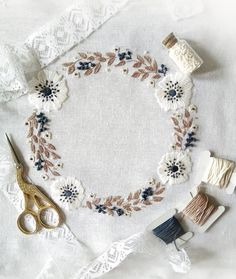 floral hand embroidery anemones  #hand embroidery #hand stitching #embroidery wreath