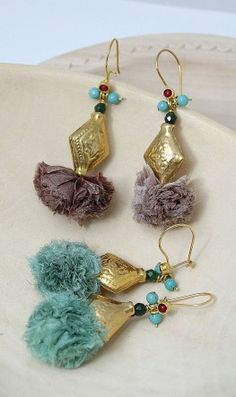 The chiffon is an unexpected touch on these Turkish earrings.