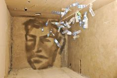 Artist Rashad Alakbarov from Azerbaijan uses suspended translucent objects and other found materials to create light and shadow paintings on walls.