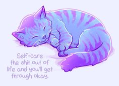 """""""Self-Care the Shit Out of Life"""" Starry Tabby Cat by thelatestkate"""