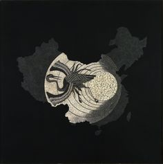 Map of China - Crane on fullmoon Lacquered painting with eggshells inlays. China's emblematic bird - symbol of longevity, wisdom and lofty spirit - Moon, symbol of fertility