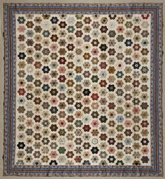 Looks like it could have been made today with our wonderful repro fabrics.  Hexagon Quilt, ca.1880. Cotton, 86 x 75 in. (218.4 x 190.5 cm). Brooklyn Museum, Gift of Mathilda Maxwell Whiting and Mrs. Howard F. Whitney, 56.121 (Photo: Brooklyn Museum (Gavin Ashworth,er), 56.121_Gavin_Ashworth_photograph.jpg)
