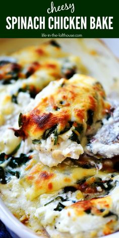 Cheesy Chicken Spinach Bake Cheesy Chicken Spinach Bake Related Stunning Modern Dream House Exterior Design Ideas - GoogodecorPineapple Chicken and Rice - Daily AppetiteCreamy Tuscan Chicken Recipe (Keto & Low Carb) Chicken Spinach Recipes, Spinach Stuffed Chicken, Easy Chicken Recipes, Chicken And Spinach Casserole, Brunch Recipes With Chicken, Recipes With Fresh Spinach, Stuffed Chicken Recipes, Spinach Dinner Recipes, Recipes Using Cooked Chicken