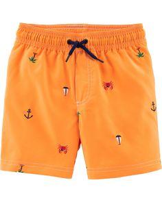 0b8051ebd993e Baby Boy Carter's Schiffli Swim Trunks | Carters.com Baby Boy Swimwear,  Baby Swimsuit