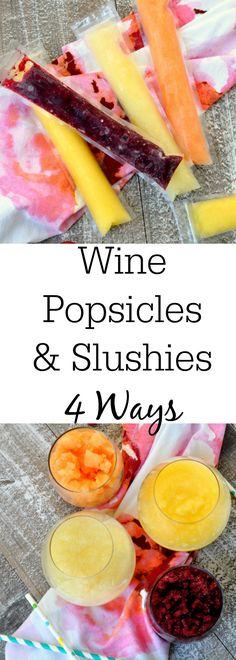 Wine Slushie Popsicles 4 Ways- A Refreshing Homemade Slushies Recipe Wine Popsicles and Slushies – 4 Ways Wine Popsicles, Alcoholic Popsicles, Alcoholic Drinks, Beverages, Frozen Drinks, Frozen Desserts, Frozen Treats, Alcohol Drink Recipes, Wine Recipes