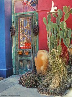 Southwest Door door, architecture, arizona, steps, barrio, southwest, tucson, pottery, desert southwest, doors windows, HDR, Lucinda Walter, FinePix HS30EXR