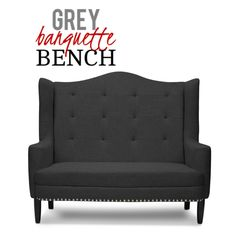 This elegant gray banquette bench boasts of birch wood frame, comfortable seat cushion, black lacquer legs, grey linen upholstery and piping on the edges for a tailored polish and contemporary charm. Mid Century Modern Furniture, Contemporary Furniture, Banquette Bench, Settee, Hollywood Regency, Seat Cushions, Interior Styling, Birch, Mid-century Modern