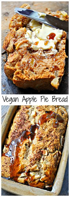 vegan apple pie bread takes 1 bowl, 10 ingredients and is refined sugar free! Did I mention it tastes just like apple pie?This vegan apple pie bread takes 1 bowl, 10 ingredients and is refined sugar free! Did I mention it tastes just like apple pie? Vegan Dessert Recipes, Vegan Sweets, Whole Food Recipes, Cooking Recipes, Vegan Recipes With Flour, Cooking Bread, Vegan Foods, Vegan Snacks, Vegan Dishes