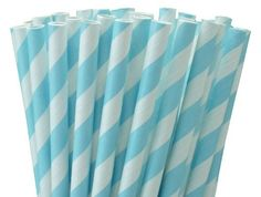 """25 Paper Drinking Straws Baby Blue Stripes 7.75"""" Retro Vintage Style Durable, $2.16"""