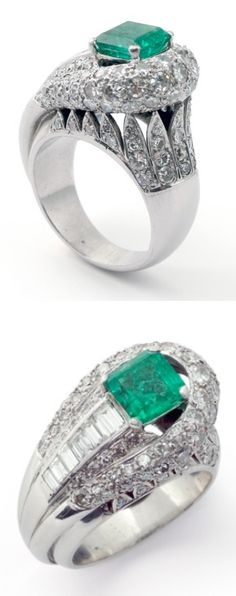RENE BOIVIN. AN EMERALD AND DIAMOND RING Of tapering design, set to the centre with a step-cut emerald, within a surround of circular- and single-cut diamonds, graduating around the finger, the gallery also embellished with diamonds, 1930s, French assay marks for platinum.