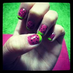 My watermelon nails, seen on Cosmopolitan's top 10 cutest mani's! Check out the others here: http://www.cosmopolitan.com/hairstyles-beauty/skin-care-makeup/reader-nail-art?hootPostID=504524146782fb9c96eeb8967b4627a7#slide-10