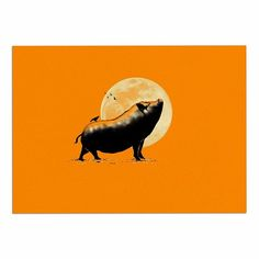 KESS InHouse Barmalisirtb 'Barking Pig' Black Orange Dog Place Mat, 13' x 18' * Startling review available here  : Dog food container