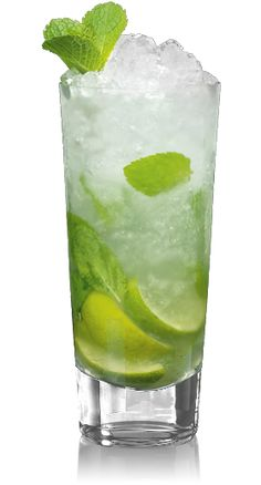 Mojito  What You'll Need 2 parts Rum 12 fresh mint leaves 1/2 lime in wedges 2 tablespoons simple syrup or sugar Club Soda Crushed Ice Sprig of fresh mint to garnish Instructions Step 1. Muddle 12 fresh mint leaves & 1/2 lime. Step 2. Cover with 2 tablespoons simple syrup or sugar; top with ice. Step 3. Add Rum & top with club soda. Step 4. Stir well & garnish with a sprig of mint & a lime.