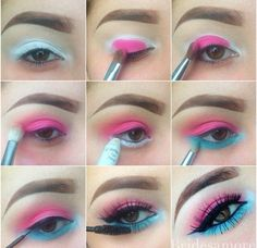 95 Super Stylish DIY Summer Eye Makeup Tutorials to Take Care of All Your Summer Dress-Up Superb Summer Blue and Pink Eye Makeup Tutorial - Das schönste Make-up 80s Eye Makeup, Summer Eye Makeup, Colorful Eye Makeup, Blue Eye Makeup, Eye Makeup Tips, Cute Makeup, Makeup Geek, Eyeshadow Makeup, Makeup Remover