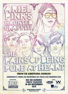 Ariel Pink Haunted Graffiti + The Pains of Being Pure at Heart. Abertura: Dorgas (September 2011)  Art by Rodrigo Curi