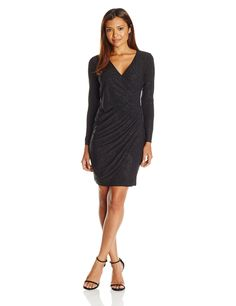 Calvin Klein Women's Petite Long Sleeve Side Ruched Dress in Glittery Jersy Fabric