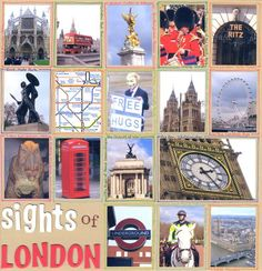 Sights of London - love the hand-drawn names and doodles surrounding each photo #scrapbooking