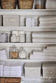 Our Linen Closet Makeover - Dear Lillie Studio Bathroom Closet Organization, Bathroom Organisation, Closet Storage, Bathroom Storage, Small Bathroom, Organization Ideas, Bathrooms, Airing Cupboard, Linen Cupboard