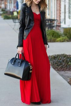 4c7be01b469c Always Charming Strapless Red Maxi Dress. Lulus. Leather Jacket ...