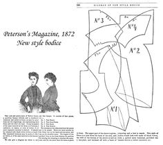 Diagram and picture of New style bodice, Peterson's Magazine, 1872 Historical Dress, Historical Costume, Bustle, Vintage Sewing, Bodice, Sewing Patterns, Diagram, Victorian, War