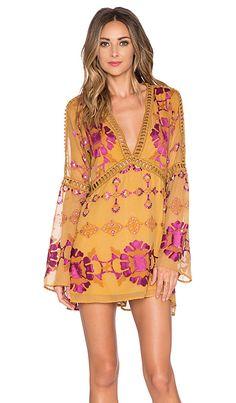 For Love & Lemons Barcelona A-Line Dress in Old Gold | REVOLVE