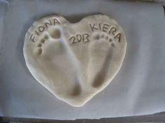 salt dough heart footprints