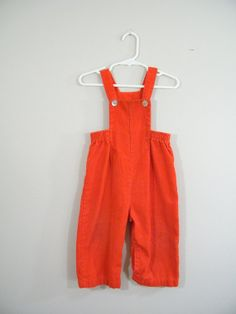Vintage 1960s Childs Longalls / Overalls / Red Corduroy / 24 Months / Buster Brown
