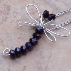 Dragonfly Necklace with blue/black Swarovski Crystals by YourTime