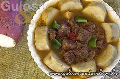 #BomDia! Este Cozido de Carne com Batata Doce é uma opção deliciosa de #almoço, nutre, é completo, fácil e sacia muito.  #Receita aqui: http://www.gulosoesaudavel.com.br/2013/10/02/cozido-carne-batata-doce/