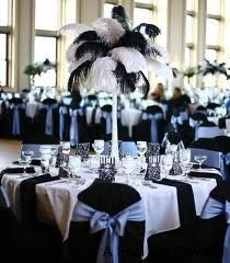 Black and White Feather Centerpiece