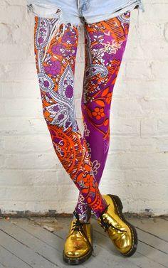 Way crazy multicolor paisley floral tights.