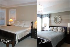 master bedroom before and after with striped walls