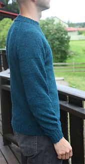 Anything for love is a seamless pullover for men knit from the top down, all in one piece.