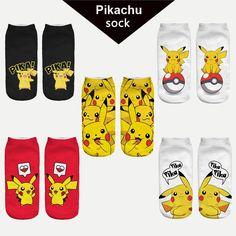 New Arrival Kawaii Harajuku Pokemon Pikachu Socks, 3D Printed Low Cut  – All Things Lovely Shop