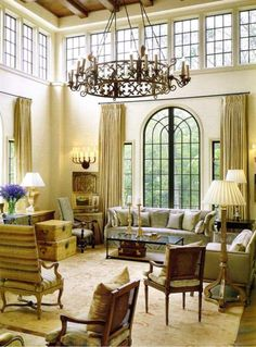 Architecture in a dramatic North Carolina living room by McAlpine Tankersley. Veranda.
