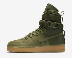 #ALLDESIGNERSTAPLES Pinterest - @houstonsoho | @nikefactoryusa introduces the SF AF-1 in #OLIVE #GREEN + Gum Sole