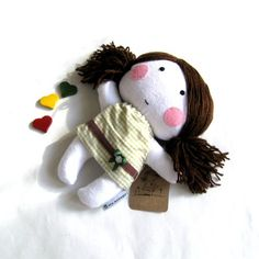 "Rag doll soft toy stuffed puppet handmade doll plushie softie baby girl girlie white green brown dress 11"" 27 cm"