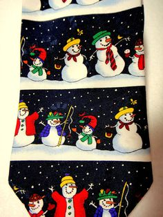 "Snowman Tie Yule Tie Greetings by MMG Hallmark Lined 56"" USA Snowmen Wearing Tie #Hallmark #NeckTie #fashion #style #unique #career #silk #christmas #holiday #snowman #olaf #frosty #xmas"