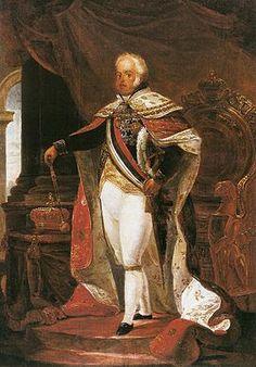 D. João VI nos trajes de sua aclamação, pintura de Debret.- João VI de Portugal – Wikipédia, a enciclopédia livre